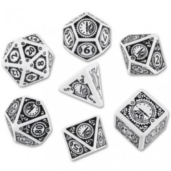 QW WHITE-BLACK STEAMPUNK CLOCKWORK DICE SET (7)