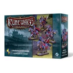 Este pack incluye todo lo necesario para añadir 1 unidad de Caballería juramentada a tu ejército de Runewars