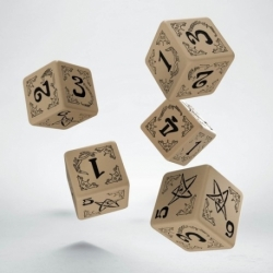 ARKHAM HORROR BEIGE & BLACK 5D6 DICE (5)