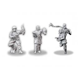 Tres miniaturas en metal de los héroes de Achtung! Cthulhu a escala 28mm