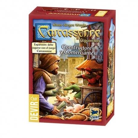 Constructores Y Comerciantes es la segunda expansión que te permitirá completar el juego básico Carcassonne de Devir