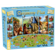 Contents of the game box with many Carcassonne Plus 2017 included 11 expansions