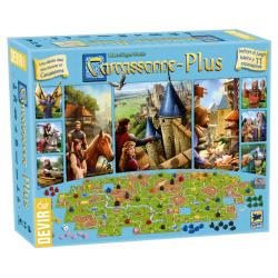 En Carcassonne Plus 2017 se presentan juntos en una misma caja grande el juego básico y 11 expansiones