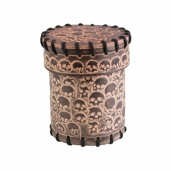 QW LEATHER DICE CUP SKULLY BEIGE
