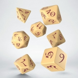 QW DADOS CLASSIC RPG BEIGE & BURGUNGY SET (7)