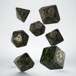 QW DRAGON DICE SET GREEN & GOLD (7)