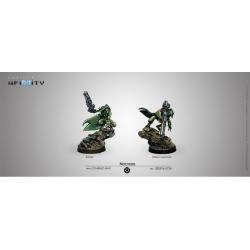Pack de dos miniaturas Noctifers (Spitfire/Missile Launcher) del juego de mesa Infinity de Corvus Belli referencia 280693-0739