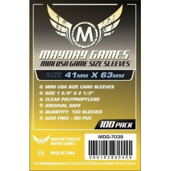 [7039] Mini USA Game Size Sleeves 41 X 63 MM (100 pack) (Yellow)