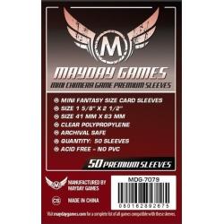 [7079] Premium Mini Chimera Game Sleeves 43 X 65 MM (50 Pack) (Dark Red)