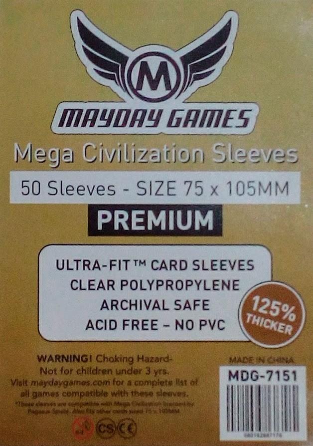 75x105mm Mayday Games Mega Civilization Sleeves 50 Premium Sleeves