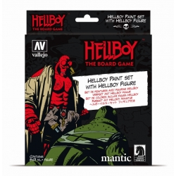 Pack of paint boats and Hellboy exclusive figure of Acrylicos Vallejo and Ángel Giráldez