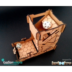 Customeeple dice tower for the Infinity miniatures board game