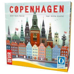 Copenhagen es un juego familiar y divertido para los amantes de los puzzles y la gestión de cartas de Devir