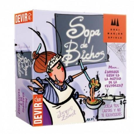 Portada del juego de mesa colaborativo Sopa de Bichos de la marca Devir