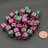 Gemini 6-sided 12mm dice with green / purple / gold dots