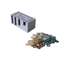 Monedas metálicas + Caja de monedas Scythe