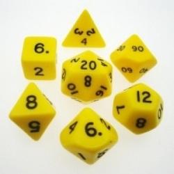 Chessex Opaque Polyhedral 7-Die Sets - Yellow w/black