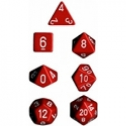 Chessex Opaque Polyhedral 7-Die Sets - Red w/white