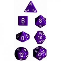 Chessex Opaque Polyhedral 7-Die Sets - Purple w/white