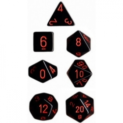 Chessex Opaque Polyhedral 7-Die Sets - Black w/red