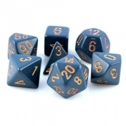 Chessex Opaque Polyhedral 7-Die Sets - Dusty Blue w/gold