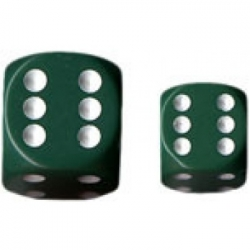 Chessex Opaque 16mm d6 with pips Dice Blocks (12 Dice) - Green w/white