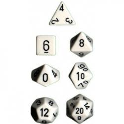 Dados Chessex Opaque Polyhedral 7-Die Sets - White w/black