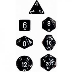 Chessex Opaque Polyhedral 7-Die Sets - Black w/white