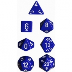 Chessex Opaque Polyhedral 7-Die Sets - Blue w/white