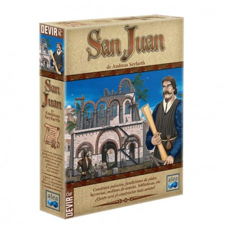 San Juan is inspired by the famous game of resource management Puerto Rico box content