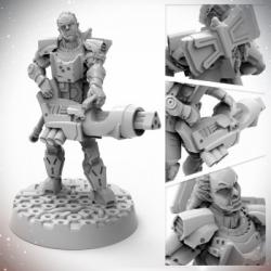 Starfinder Half-Orc Soldier miniature - EN