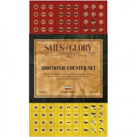 Additional Counter Set es una expansión para los fans del Sails of Glory, para jugar batallas con más de 10 o 12 barcos.