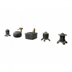 Ziterdes - Set of stone lanterns with bamboo fountains, 5 par