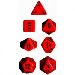 Chessex Opaque Polyhedral 7-Die Sets - Red w/black