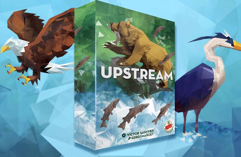 Upstream es un juego de mesa de habilidad y estrategia donde tendrás que guiar a tus salmones río arriba sin que se los coman los feroces depredadores por el camino