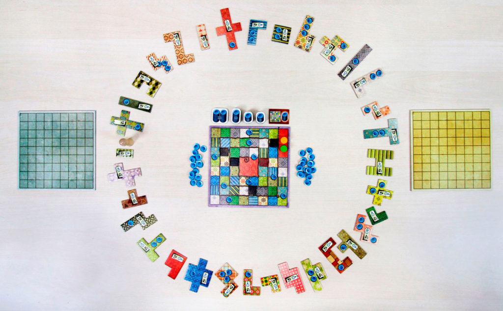 Disposición inicial juego de mesa Patchwork